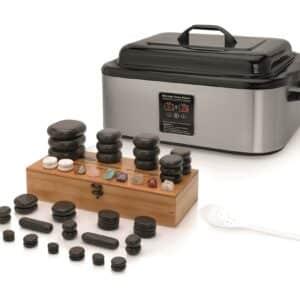 Met de hotstoneheater van 17 liter verwarm je de 60 massagestenen uit deze set moeiteloos tegelijkertijd